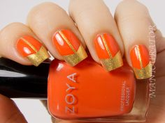 manicurator: Digit-al Dozen Tape Week Chevron/gap Nail Art with Zoya Kerry and Thandie Hot Nails, Hair And Nails, Nail Polish Designs, Nail Art Designs, Tape Nail Art, Burgundy Nails, Orange Nails, Polka Dot Nails, Colorful Nail Designs
