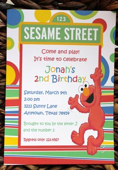 Sesame Street Elmo Birthday Invitations with FREE Matching Return Address Labels. $1.00, via Etsy.