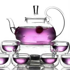 Teaology Fiore Borosilicate Blooming Teapot and Glass Set (Fiore), Clear Heat Resistant Glass, Glass Teapot, Thing 1, Tea Pot Set, Flower Tea, Flower Blossom, Brewing Tea, Chinese Tea, Coffee Set