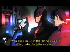 Ha ha! Nightwing and Catwoman arguing- but Batman doesn't care. He's Batman.
