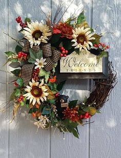 Handmade Fall Grapevine Wreath Welcome by TheChicyShackWreaths Wreath Crafts, Diy Wreath, Door Wreaths, Grapevine Wreath, Wreath Ideas, Autumn Wreaths, Holiday Wreaths, Spring Wreaths, Decoration Vitrine