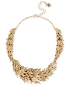 Betsey Johnson Gold-Tone Crystal Feather Statement Necklace