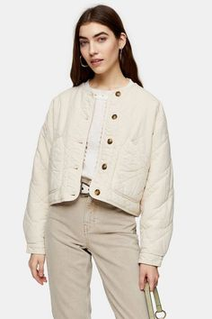 This sand coloured washed lightweight quilted jacket will forever be a favourite at Topshop. Classic and an effortless layer, complete any look today. Topshop Online, Topshop Style, Style Magazin, Jacket Images, Knitted Coat, Beige, Jackets Online, Jackets