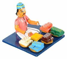 UTSAV KRAFT Wooden Kondapalli Man Selling Food in a Market Showpiece (12 cm x 12 cm x 9 cm) - copy