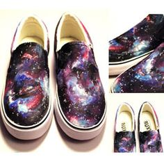 #Galaxy Shoes Hand Painted Galaxy Shoes Slip-on Painted Canvas Sh