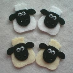 felt sheep - cute idea with the eyes and black jewels for nose