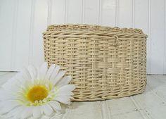 Vintage Oval Winter White Woven Wicker Basket  by DivineOrders, $9.00