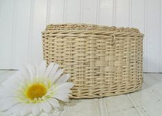 Vintage Oval Winter White Woven Wicker Basket  by DivineOrders, $9.00