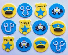 Fondant Cupcake Toppers Police by TopItCupcakes on Etsy Fondant Cupcakes, Fondant Toppers, Cute Cupcakes, Cupcake Cakes, Police Birthday Cakes, Police Cakes, 4th Birthday Cakes, Fireman Cake, Fondant Animals
