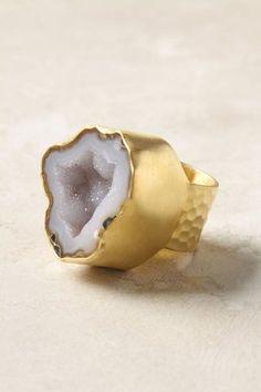 Grey Geode Ring