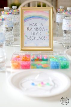 Rainbow Party Activity Ideas - a.a - Rainbow Party Activity Ideas Check out all of the easy DIY ideas in this beautiful watercolor rainbow party! Diy Unicorn Birthday Party, Rainbow First Birthday, Rainbow Unicorn Party, Birthday Party Games, Unicorn Birthday Parties, Birthday Party Decorations, 5th Birthday, Birthday Ideas, Diy Birthday Activities