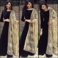 Indian Bollywood Ethnic Designer Anarkali Salwar Kameez Suit & Traditional HBJP in Clothes, Shoes & Accessories, Women's Clothing, Other Women's Clothing Fashion Week, Look Fashion, Indian Fashion, Fashion Online, Fashion Trends, Indian Attire, Indian Wear, Black Indian Gown, Pakistani Outfits