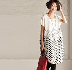 Loose Fitting Soft Cotton Long Shirt Blouse from camelliatune by DaWanda.com