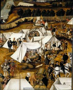 Detail from The camp of Charles V at Lauingen in the year 1546 by Matthias Gerung, 1551.
