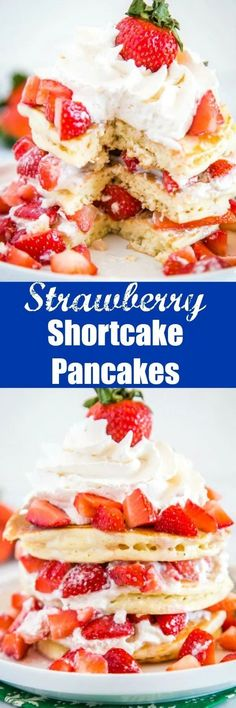 Strawberry Shortcake Pancakes - light and fluffy pancakes topped with fresh strawberries and homemade whipped cream. It is like dessert for breakfast! Chef Recipes, Brunch Recipes, Dessert Recipes, Cooking Recipes, Pancake Recipes, Breakfast Recipes, Breakfast Dishes, Breakfast Ideas, Top Recipes