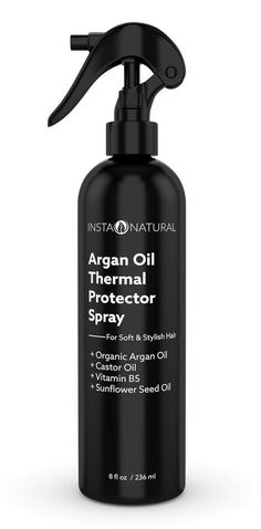 Argan Oil Thermal Protector Spray is the ultimate heat-protecting leave-in spray for softer, silkier and shinier hair. Gives hair salon-quality style and volume growth, as well as Vitamin and Sunflower Seed Oil to keep hair from looking dry and lifeless Argan Oil And Castor Oil, Organic Argan Oil, Natural Oils, Natural Skin Care, Natural Hair, Serum, Homemade Sunscreen, Perfect Hair Day, Make Hair Grow