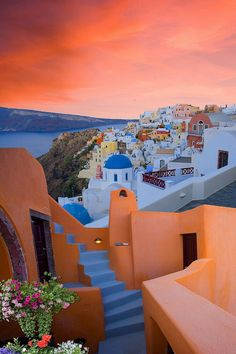 Sunset Colours in Oia, Santorini, Greece