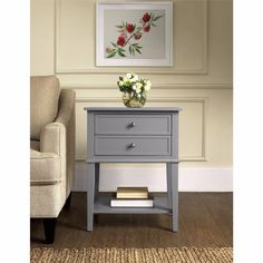 Bedside Table Small Accent End Tables With Storage Night Stands For Bedroom Gray #Altra #Contemporary