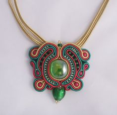Soutache necklace red, gold and green. Soutache jewellery, beaded necklace by MollyG Designs