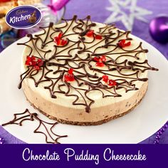 Beautiful and traditional pudding flavours combine with chocolate in this great cheesecake! It's a delicious Christmas pudding from Cadbury Kitchen. Baked Chocolate Pudding, Cadbury Chocolate, Chocolate Treats, Melting Chocolate, Chocolate Recipes, Australian Sweets, Cadbury Recipes, Pudding Flavors, Cheesecake Pudding