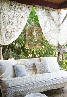 Bohemian outdoor space.