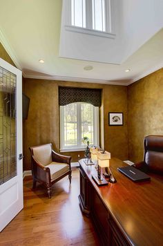 We love the walls in this home office! Created by Weston Design of South Burlington, VT.