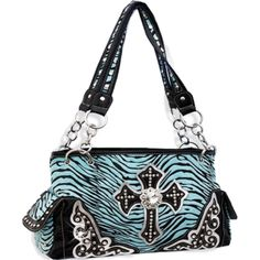 Handbags, Bling & More! Turquoise Zebra Print Cross Purse with Rhinestones : Western Style Cross Purses