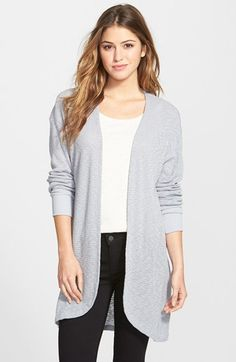 Free shipping and returns on Bobeau Long Open Front Cardigan at Nordstrom.com. A long open-front cardi gets ready for warmer weather in an airier, slub-knit fabric. The fit is relaxed with dropped shoulders and a gently curved front hem.