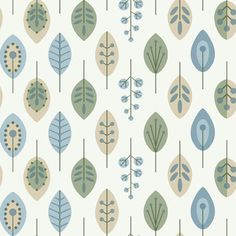 York - Kb8526 Leaves Contemporary Leaves Wallpaper - KB8526 Leaves from Bistro 750 is a blue, green and beige contemporary leaf wallpaper with a white background.