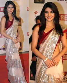 Priyanka Chopra Net Machine Work Off White Bollywood Designer Saree - M013 In Stock: Rs 1,235