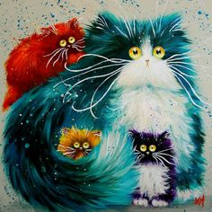Cat DIY Oil Painting Numbers Abstract Acrylic Paint Animal Color Cats Decorative Canvas Painting Coloring By Number Drawing Art Fantaisiste, Cat Colors, Bright Colors, Cross Paintings, Cat Paintings, Resin Paintings, Cat Drawing, Whimsical Art, Oeuvre D'art