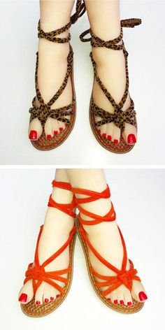 Fashion Flat Heel Lace-up Thong Sandals #summer