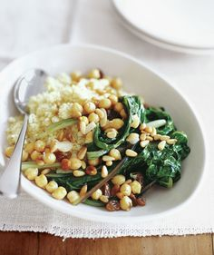 Swiss Chard With Chickpeas and Couscous | 20 Easy Vegan Dinner Recipes | Real Simple