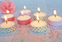 Bastelidenn für den Sommer - Teelichter mit Washi-Tape