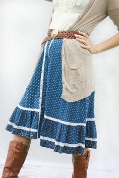 Vintage 70s Boho High Waist Prairie Skirt Size Medium. $15.00, via Etsy.