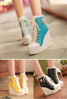 Wholesale Fashion Women's Wedge Boots With Color Block and PU Leather Design (BLACK,38), Boots - Rosewholesale.com