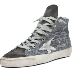 Golden Goose Francy Leopard High Top Sneaker in Silver ($536) ❤ liked on Polyvore