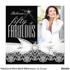 Fabulous 50 Photo Black White Lace 50th Birthday Card Fabulous 50, Photo, Black and White Lace. Elegant Modern and Stylish 50th Birthday Party Invitations. All Occasion Invite Add Photo invitation. All Occasions birthday invites. Customize with your own details and age. Template for Sweet 16, 16th, Quinceanera 15th, 18th, 20th, 21st, 30th, 40th, 50th, 60th, 70th, 80th, 90, 100th, Fabulous product for Women, Girls, Zizzago created this design PLEASE NOTE all flat images! They Do NOT have real…