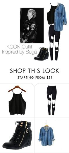 """""""KCON Outfit Inspired by Suga"""" by kookiechu ❤ liked on Polyvore featuring WithChic and Top Moda"""