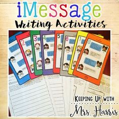 iMessage Writing Activities - Writing ActivitiesNeed some ideas to get your students writing?  Make writing fun and give your writing center a modern day spin with these fun iMessage Writing Activities.  There are 8 different iMessage messages displayed on iPhones.