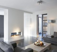 Living room - See-through fireplace
