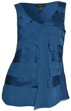 Alfani Vneck Sleeveless Top XS Layered Tiered Ruffles Silky Teal Blue Tank NEW #Alfani #Blouse #Career