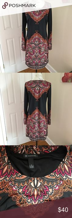 INC International Concepts Long Sleeved Dress M Nice vivid colors. Has small studs where the print is on the dress. Super lightweight and comfortable. Excellent Condition. INC International Concepts Dresses Midi