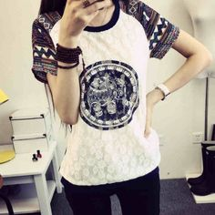 Original Folk Geometric Elefant Muster Spitze Kurz Splice Sleeves T-shirt from Atwish.com.<3<3<3