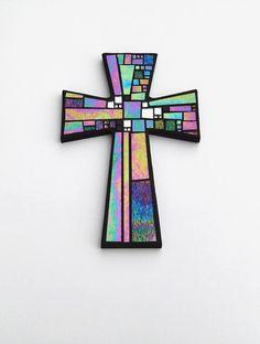"Mosaic Wall Cross, Large, Black with Iridescent Glass + Silver Mirror, Handmade Stained Glass Mosaic Cross Wall Decor, 15"" x 10"" by Dana Hess, Mosaic Artist @ The Green Banana Mosaic Company"