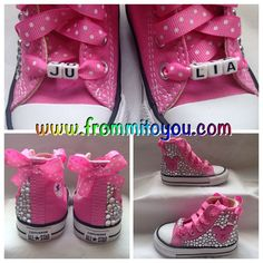 Minnie Mouse / Mickey Mouse Custom Converse by From Mi To You. Converse Design, Bling Converse, Baby Converse, Custom Converse, Custom Shoes, Bedazzled Shoes, Bling Shoes, Minnie Mouse Converse, Mickey Mouse