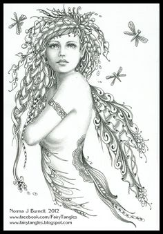 Fairy Tangles - Dragonfly magic Fairy Myth Mythical Mystical Legend Elf Fairy Fae Wings Fantasy Elves Faries Sprite Nymph Pixie Faeries Hadas Enchantment Forest Whimsical Whimsy Mischievous Coloring pages colouring adult detailed advanced printable Kleuren voor volwassenen coloriage pour adulte anti-stress kleurplaat voor volwassenen Line Art Black and White