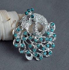 5 Teal Aqua Tiffany Blue Rhinestone Button Peacock Crystal Embellishment Wedding Brooch Bouquet Cake Hair Comb Shoe Clip BT333