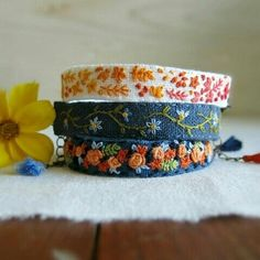Colorful hand embroidered bracelets by Sidereal ~ Lynn Furman