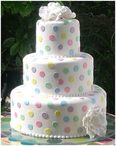 Pastel Polka Dot  Cake how cute would this be for a baby shower?